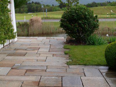 Naturstein Rechenauer Garten Terrasse Einfassung Gneis Granit Kalkstein Haus Eingang